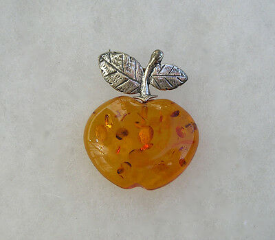 Nice Sterling Silver Baltic Amber Apple Fruit Pin Brooch Signed PL 925