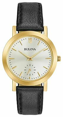 Bulova Women's Quartz Stainless Steel and Leather Casual Watch, Color:Black (Mod