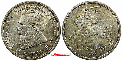 Lithuania Silver 1936 5 Litai Choice XF Gold Toned KM# 82