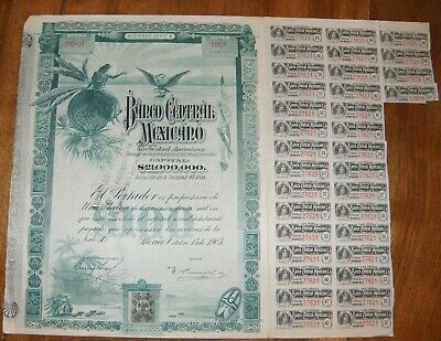 Action 100 Pesos - Banco Central Mexicano + 34 Coupons - 1905