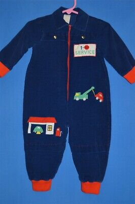 vintage 80s AUTO MECHANIC CORDUROY COVERALLS BLUE RED BABY 6/9 MONTHS
