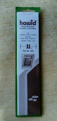 Hawid stamp mounts BLACK backed pack of 25 strips 35mm high x 210mm long. New
