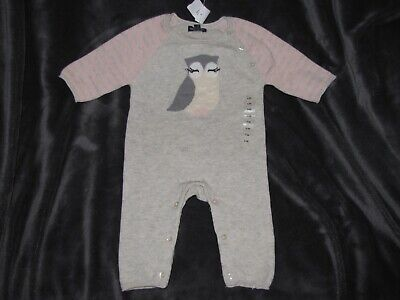 Baby Gap Pink Gray Owl Sweater Knit One Piece Romper Clothes Owl Bird 0-3 New