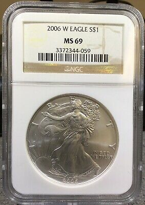 2006 W 1 Oz Fine Silver Eagle Ngc Ms69 Better Date Classic Brown Label.   D