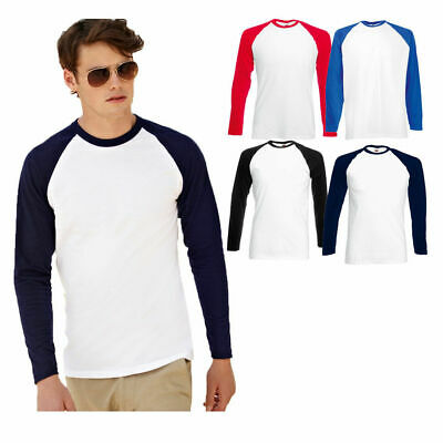 Fruit Of The Loom Men's Value-Weight Long Sleeved Baseball Sports Tee  S - 3Xl
