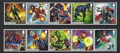 Great Britain 2019 Marvel Set Of 10 In 2 Strips Unmounted Mint, Mnh