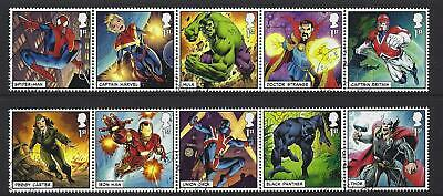 Great Britain 2019 Marvel Set Of 10 In 2 Strips Fine Used