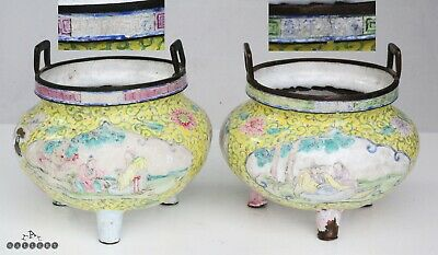 Antique Qianlong Mark Pair Canton Enamel Tripod Censers