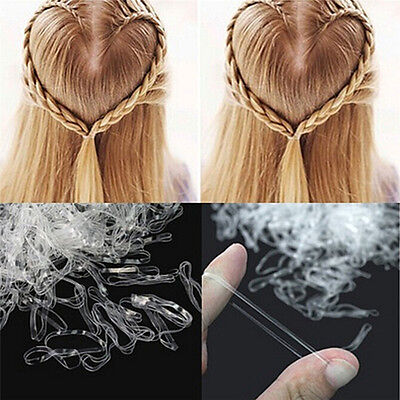 200pcs/500pcs Clear Ponytail Holder Elastic Rubber Band Hair Ties Ropes Rings Jw
