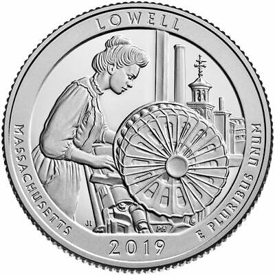 "Usa Us Quarters Lowell National Park Atb 2019 ""p"" Mint Coin Unc"