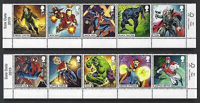 "Great Britain 2019 Marvel Set Of 10 ""sale Date"" Strips Unmounted Mint, Mnh"