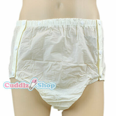 Cuddlz Adult Size Yellow Side Snap On PVC Plastic Pants Incontinence Briefs