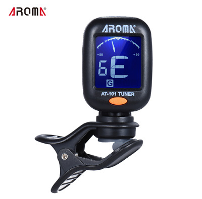 AROMA AT-101 Digital Clip-on Electric Guitar Tuner Foldable Rotating Clip High S