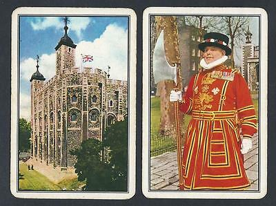 #930.637 vintage swap card -FAIR pair- Tower of London & Yeoman of the Guard