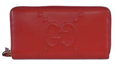 d56b1fcc99b New Gucci 453396 Red Leather Original Apollo Embossed GG Zip Wallet Clutch