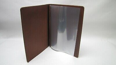 A4 Brown Real Leather room information menu (style 572) with 4 clear pockets