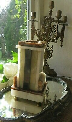 HANDSOME  VINTAGE FRENCH ART DECO MARBLE SOCLE  / CANDLE STAND ~  1930's