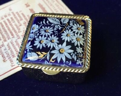Vintage Collectable blue white Floral etched gold metal square trinket pill Box