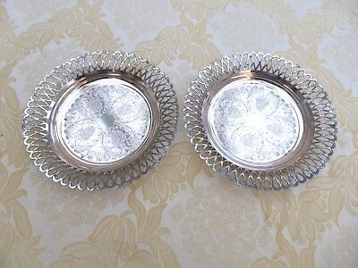 Pair Of Vintage Silver Plated Etched & Filigree Patterned Dishes  1400732/736