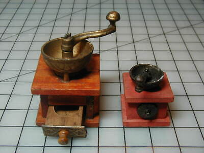 2 Vintage Dollhouse or Salesman Sample Miniature Coffee Grinders