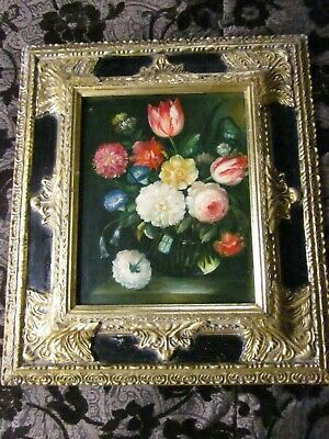 Old Antique Vintage Floral Dutch Masters Style Oil Painting Ornately Framed