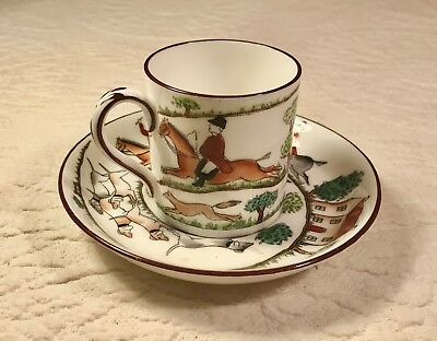 Crown Staffordshire HUNTING SCENE Demitasse Cup & Saucer MINT