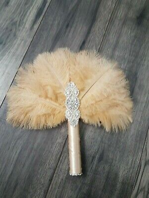 "Ostrich feather wedding Fan Bouquet  10"" GATSBY 1920'  Custom made to order"