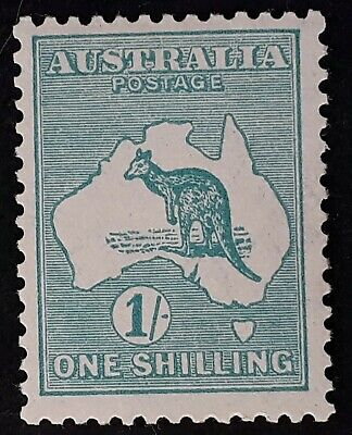 1929- Australia 1/- Blue Green Kangaroo Stamp Small Multiple Watermark Mint