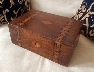 Antique Victorian Sewing Box,Rosewood Marquetry Trinket Jewelry Case,Cartouche