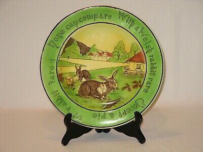 """Antique St Augustine Ware Staffordshire Pottery Welsh Rabbit 10"""" Plate"""