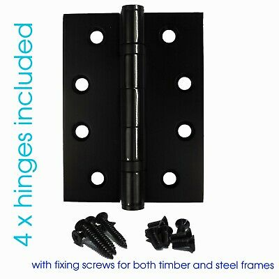 NEW BLACK  2 x BB Door Hinges (100 x 75 x 2.5mm) - Matt Black Finish with screws