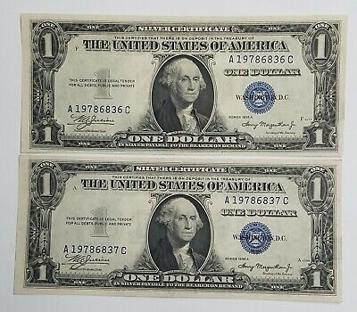 TWO Uncirculated Crisp Sequential 1935-A $1 One Dollar Silver Certificates