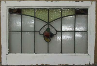 "MID SIZED OLD ENGLISH LEADED STAINED GLASS WINDOW Colorful Floral 26.25"" x 18"""