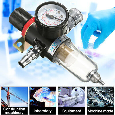 1/4'' Air Compressor Filter Set Oil Water Separator Trap Tools Regulator Gauge