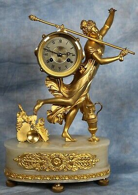 Antique French White Onyx Bronze Dore Ormolu Clock 19th Century by Vincenti