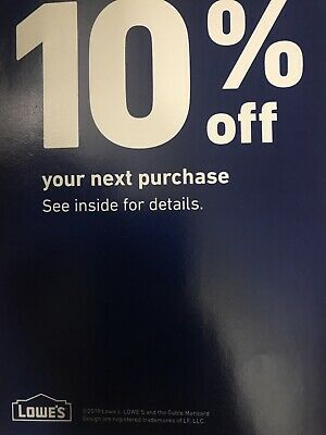 Lowes 10% Off  1 Coupon Store or Online Valid Thru 4/30/19