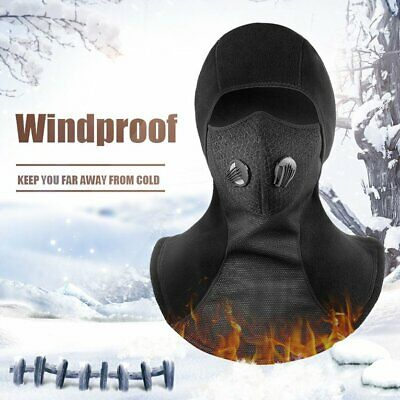 Full Face Mask Windproof Riding Mask Thermal Fleece Cycling Mask Neck Hel BK