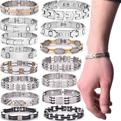 Womens Mens Gold/Silver Stainless Steel Fashion Punk Cuff Bangle Bracelet Lots