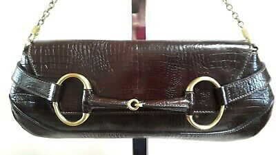 c60e7817849 Tom Ford for GUCCI - Authentic Dark Brown Large Horsebit Clutch Bag w Chain