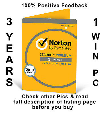 Norton Security Premium 2019 3 Years 1 Windows PC Worldwide Check Pictures