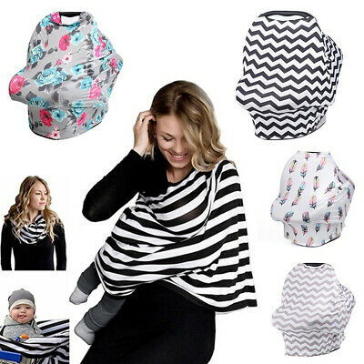 5 in 1 Nursing Breastfeeding Feeding Cover Milk Silk Scarf Baby Car Seat Canopy