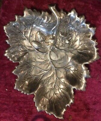Sterling Silver Vintage Strawberry Leaf Dish Wallace