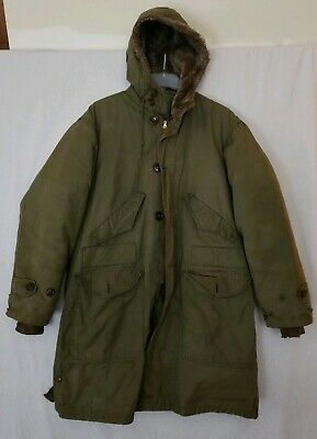 9df622091f2 VTG 40s US Army Military M-1947 M47 Pile Lined Parka Overcoat Coat Jacket  Medium