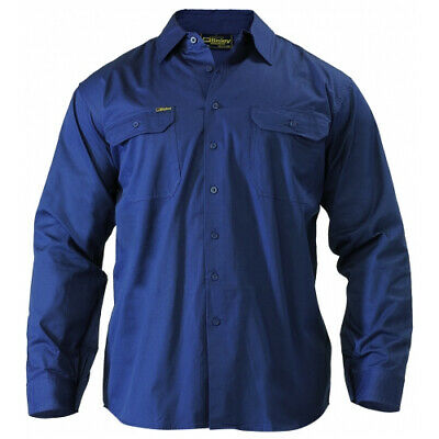 NEW Bisley Shirts  Long Sleeve Shirt Navy - in Navy - 5XL - Safety Clothing -