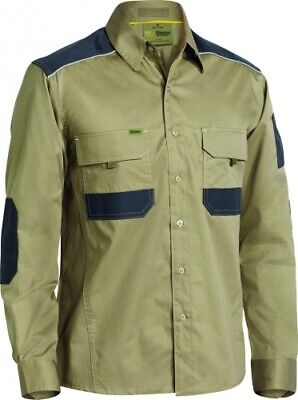 NEW Bisley Shirts  Flex And Move Stretch Shirt Khaki - Safety Clothing -