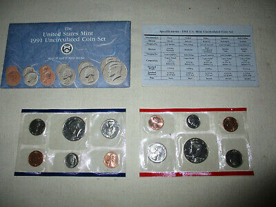 1991 US Mint Uncirculated Coin Mint Set P & D  W / OGP