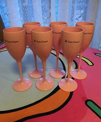 Veuve Clicquot Champagne Pink Flutes. Rare. Pack of 6. Mint Condition.