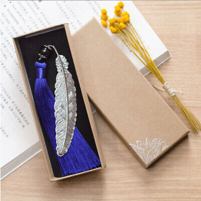 Blue Color Chinese Retro Tassel Feather Bookmark Metal Bookmarks B