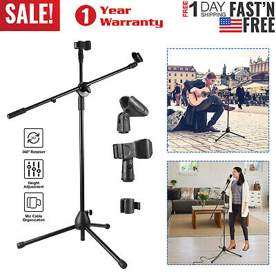 360° Rotating Microphone Stand w/ Dual Mic Clip Boom Arm Foldable Tripod Holder