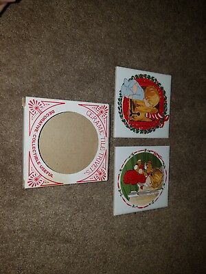 2 Vintage JSNY Christmas Holiday Santa Claus Tile Trivet Coaster Tree Children